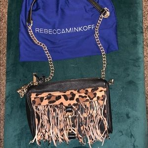 Rebecca Minkoff Mini Mac Leopard Fringe Crossbody